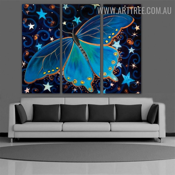 Starry Blue Butterfly Insect Animal Heavy Texture Handmade 3 Piece Multi Panel Wall Painting Set for Room Decoration