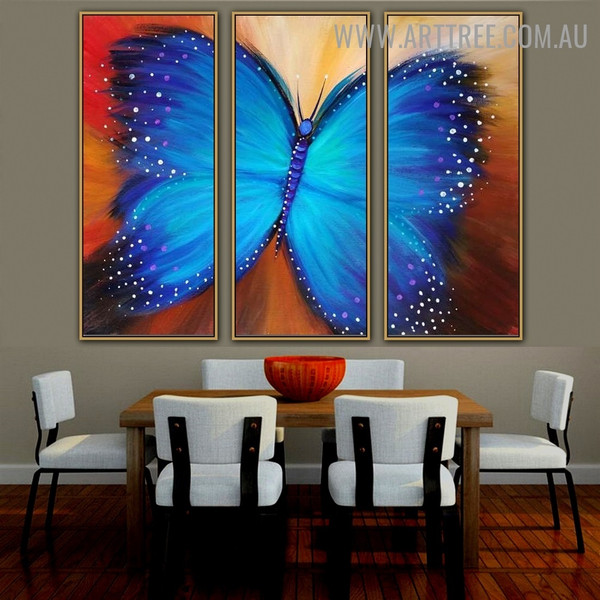 Bluish Copper Animal Heavy Texture Handmade 3 Piece Split Complementary Painting Wall Art Set for Room Ornament