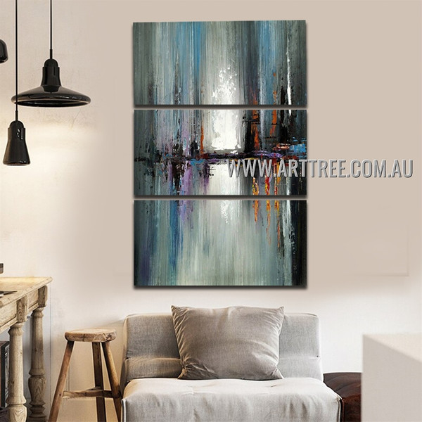Dark Stains Abstract Palette Knife Handmade 3 Piece Split Complementary Painting Wall Art Set For Room Finery