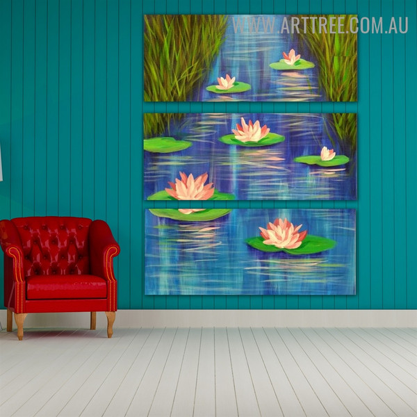 Lotus Lake Nature Heavy Texture Handmade 3 Piece Split Wall Painting Set for Room Decoration