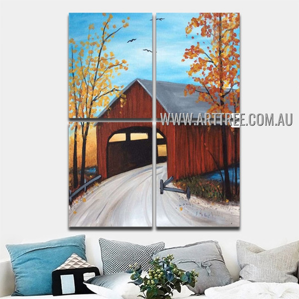 Subway Route Landscape Handmade Texture 4 Piece Multi Panel Canvas Oil Painting Wall Art Set For Room Adornment