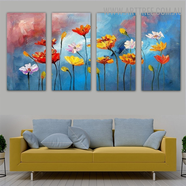 Coloured Blooms Floral Knife Impressionistic Framed Handmade 4 Piece Multi Panel Wall Painting Art Set for Room Garnish