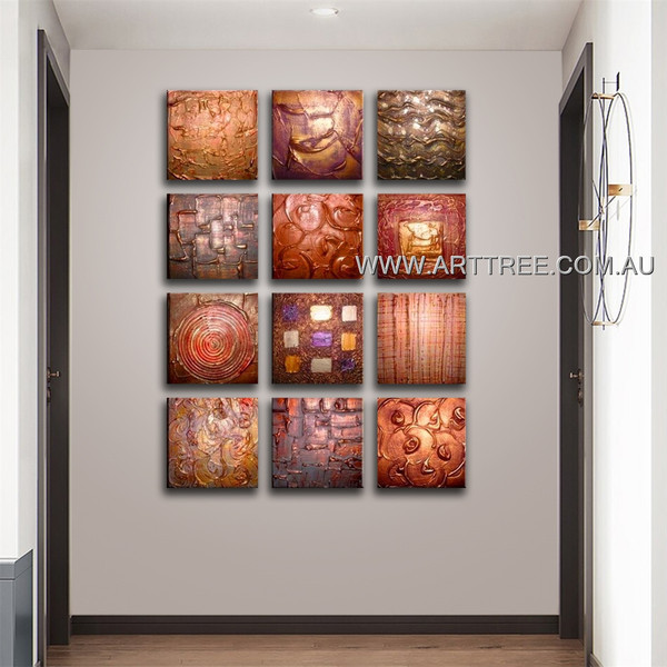 Heavy Textured Artwork 12 Panel Abstract Handmade Artist Multi Panel Canvas Oil Painting Wall Art Set For Room Equipment