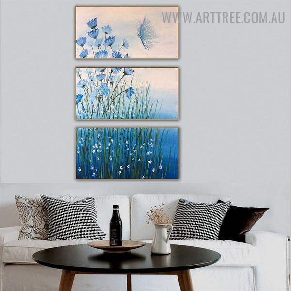 Bluish Flowers Floral Heavy Texture Artist Handmade 3 Piece Split oil painting Set For Room Adornment