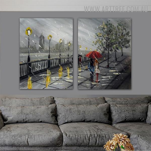 Rainy Season Landscape City Knife Handmade 2 Piece Multi Panel Canvas Oil Painting Wall Art Set for Room Wall Decor