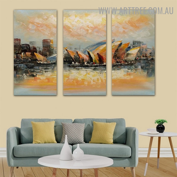 Opera House II City Knife Handmade 3 Piece Split Complementary Painting Wall Art Set for Room Ornament