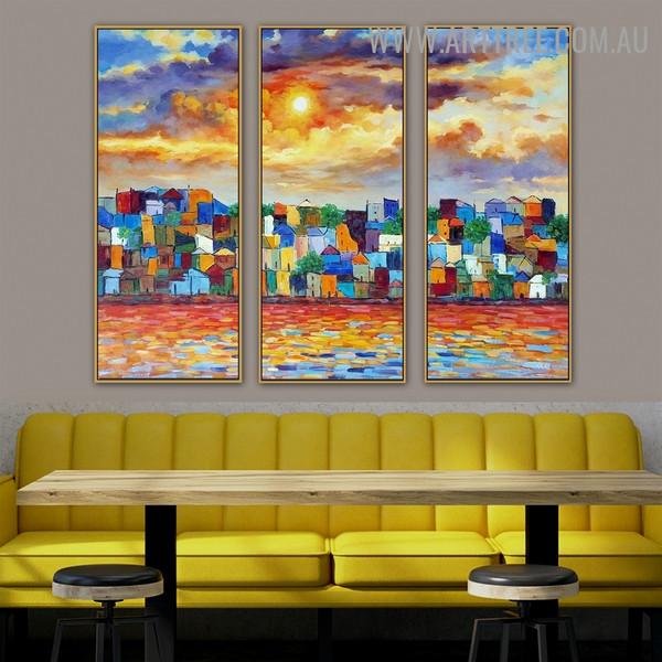 Chromatic Building City Knife Handmade 3 Piece Split Wall Painting Art Set for Room Assortment