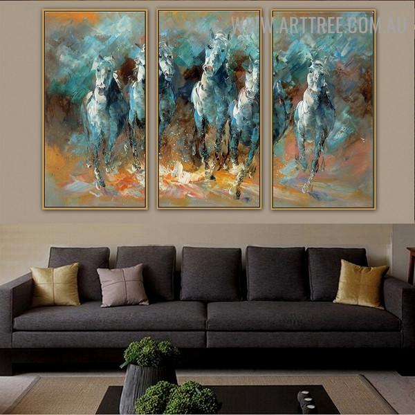 Five Running Horse Animal Knife Handmade 3 Piece Split Wall Painting Set For Room Onlay