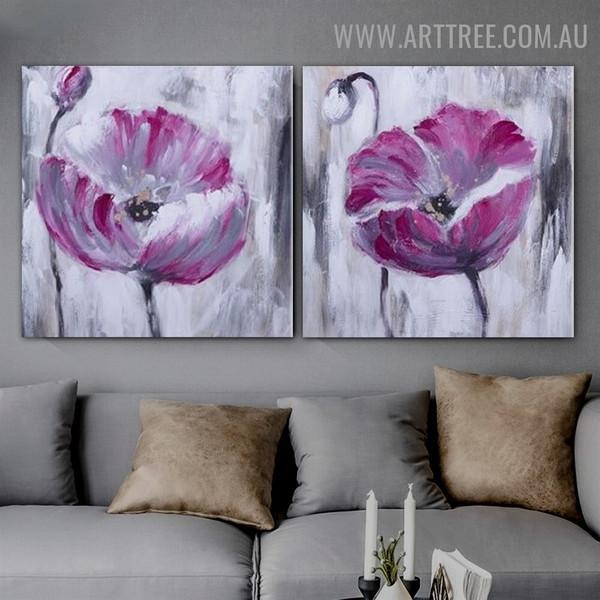 Pink Flower Burgeons Floral Abstract Modern 2 Piece Handmade Canvas Artwork Set for Room Décor