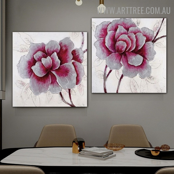 Big Flowers Contemporary 2 Piece Canvas Acrylic Handmade Floral Abstract Multi Panel Oil Paintings Wall Art Set for Room Wall Equipment