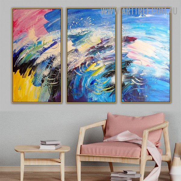 Blob Effect Abstract Knife Artist Handmade 3 Piece Multi Panel Oil Painting Set for Room Wall Getup