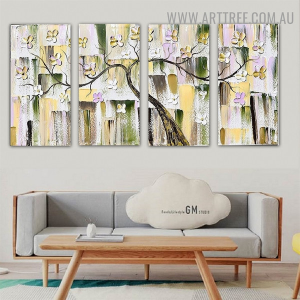 Floral Arbor Abstract Botanical Handmade 4 Piece Split Canvas Painting Wall Art Set for Room Wall Drape