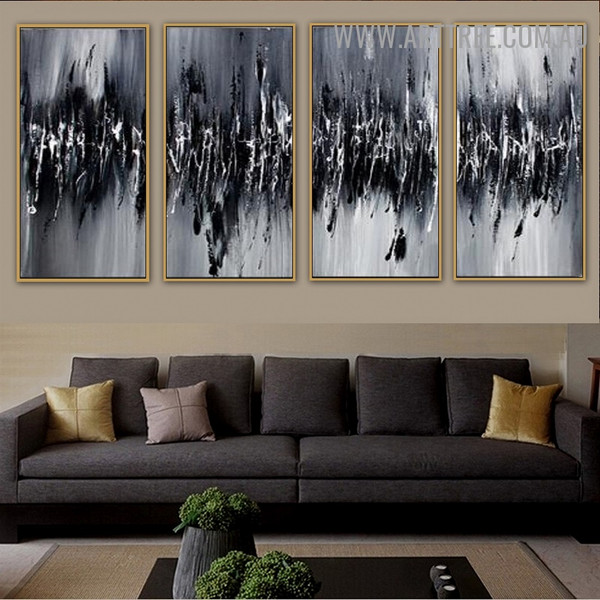 Monochrome Abrasions Abstract Handmade 4 Piece Split Panel Canvas Wall Art Set for Room Wall Tracery
