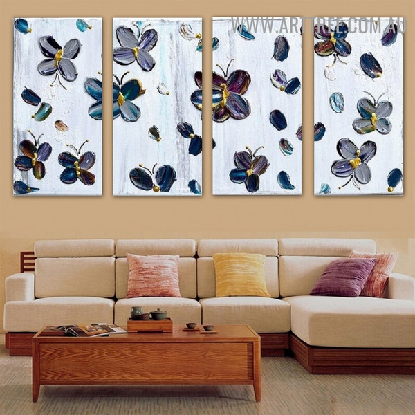 Chequered Butterflies Animal Insect Handmade 4 Piece Split Canvas Painting Wall Art Set for Room Wall Flourish