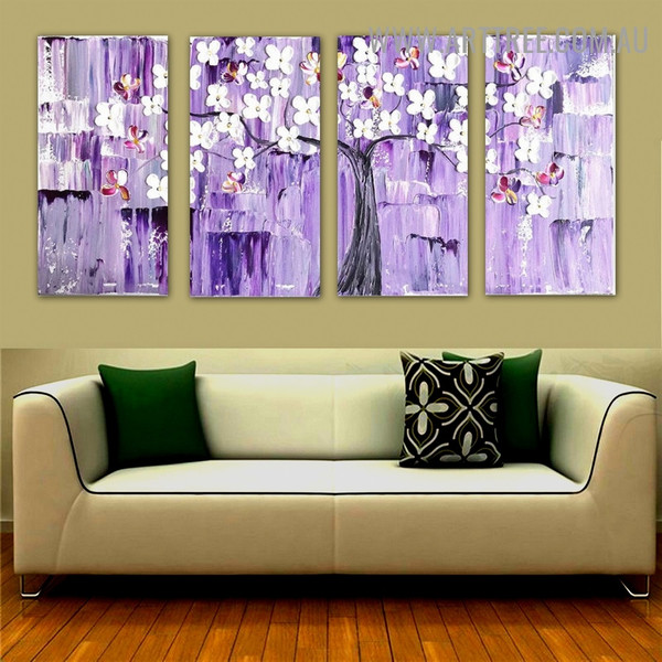 Floret Boughs Botanical Palette Knife Handmade 4 Piece Split Canvas Painting Wall Art Set for Room Wall Decor
