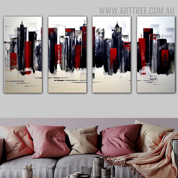 Varicolored Buildings Cityscape Heavy Texture Handmade 4 Piece Multi Panel Canvas Oil Painting Wall Art Set for Room Molding