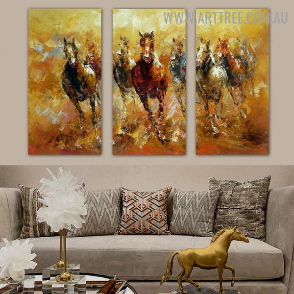 Running Steeds Animal Knife 3 Piece Multi Panel Canvas Oil Painting Wall Art Set for Room Assortment