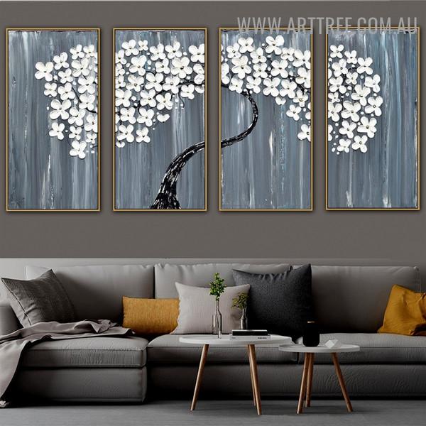 White Floret Tree Floral Artist Handmade 4 Piece Split Canvas Painting Wall Art Set for Room Assortment