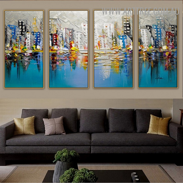 Dapple Town Cityscape Knife Handmade 4 Piece Split Complementary Painting Wall Art Set for Room Molding