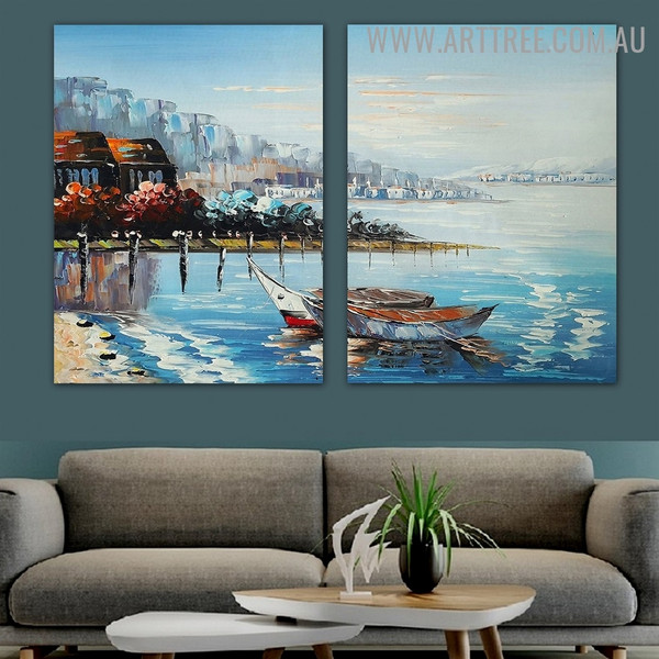 Pond Landscape Handmade Artist 2 Piece Split Oil Paintings for Room Wall Outfit