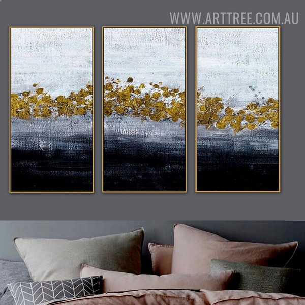 Gilt Smirches Abstract Modern Handmade 3 Piece Split Wall Painting For Room Wall Tracery