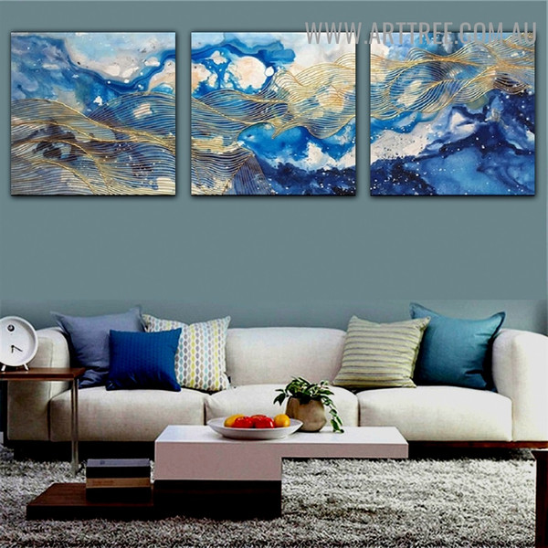 Blemishes Abstract Modern Handmade 3 Piece Split Wall Painting Set for Room Wall Décor