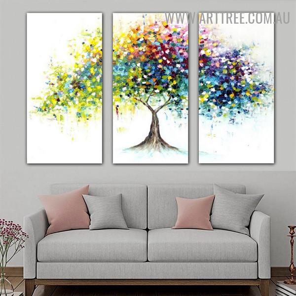 Multicoloured Leafage Tree Abstract Contemporary Handmade 3 Piece Split Canvas Art Set for Room Wall Flourish