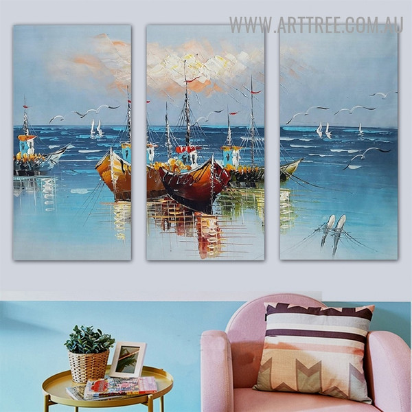 Colorful Ships Landscape Animal Palette Knife Artist Handmade 3 Piece Split Oil Paintings Wall Art Set for Room Wall Molding
