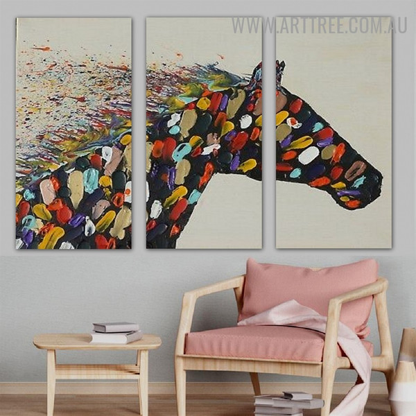 Motley Horse Animal Palette Knife Handmade 3 Piece Multi Panel Wall Art Painting Set for Wall Décor