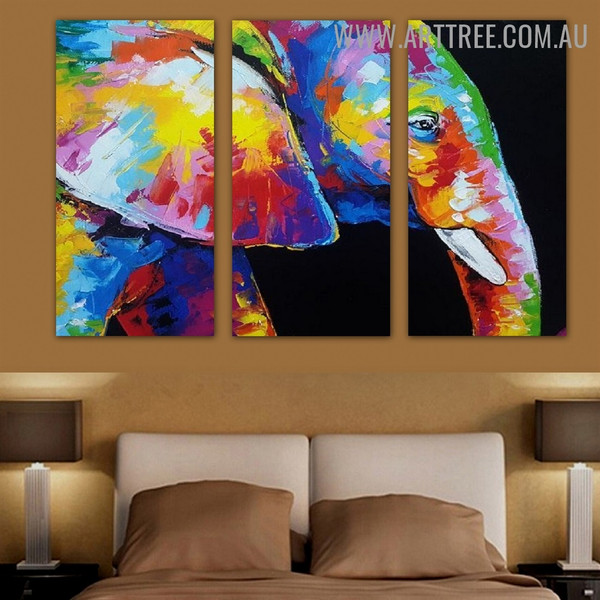 Calico Tusker Animal Palette Knife Handmade 3 Piece Multi Panel Oil Painting Wall Art Set for Wall Outfit