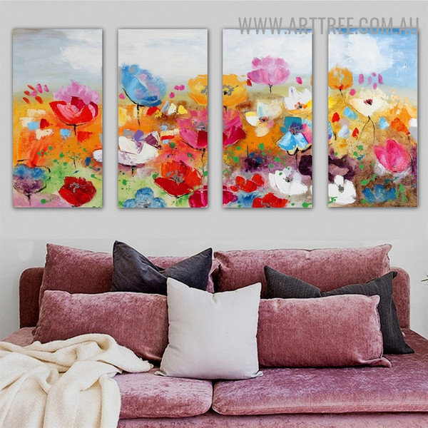 Varicolored Garden Floral Heavy Texture Palette Knife Handmade 4 Piece Split Oil Paintings Wall Art Set for Wall Disposition