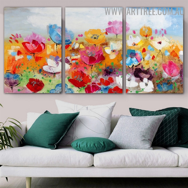 Flower Garth Botanical Floral Heavy Texture Palette Knife Handmade 3 Piece Split Canvas Painting Wall Art Set for Wall Drape