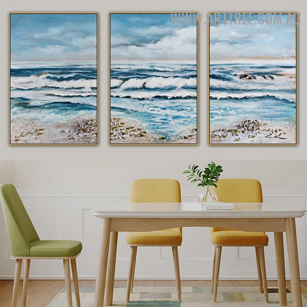 Brine Waves Landscape Modern Heavy Texture Artist Handmade 3 Piece Multi Panel Oil Painting Wall Art Set for Wall Decor