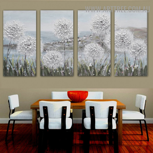 Bloom Orchard Floral Abstract Heavy Texture Artist Handmade 4 Piece Multi Panel Wall Painting Set for Wall Décor