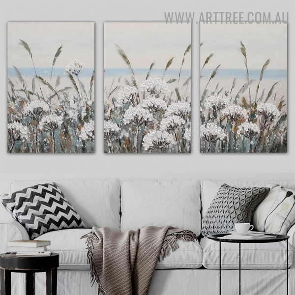 Plantation Abstract Floral Heavy Texture Artist Handmade 3 Piece Split Complementary Painting Wall Art Set for Wall Drape