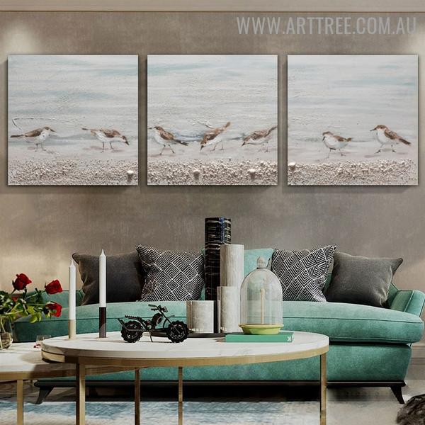 Little Sparrows Bird Heavy Texture Artist Handmade 3 Piece Split Panel Painting Wall Art Set for Room Wall Getup