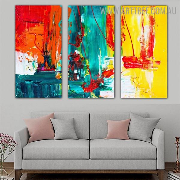 Colorful Blobs Abstract Contemporary Heavy Texture Handmade 3 Piece Split Panel Canvas Wall Art Set for Room Wall Decoration