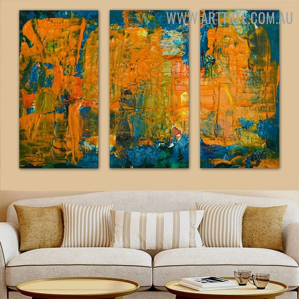 Colorific Stains Abstract Contemporary Heavy Texture Handmade 3 Piece Split Panel Painting Wall Art Set For Room Equipment