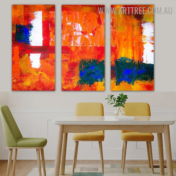 Speckles Abstract Contemporary Heavy Texture Handmade 3 Piece Split Panel Painting Wall Art Set For Room Finery