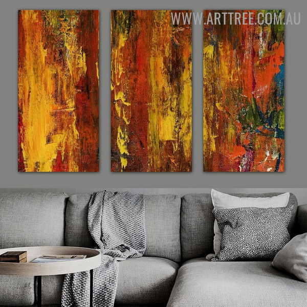 Mix Color Abstract Contemporary Heavy Texture Handmade 3 Piece Split Complementary Painting Wall Art Set for Room Garnish