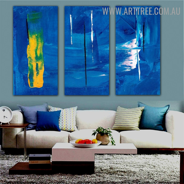 Multicoloured Streaks Abstract Artist Handmade 3 Piece Split Panel Canvas Wall Art Set For Room Adornment