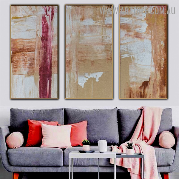 Splotches Abstract Acrylic Texture Artist Handmade 3 Piece Multi Panel Canvas Oil Painting Wall Art Set For Room Garniture