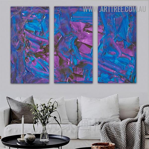 Fusion Design Abstract Acrylic Texture Artist Handmade 3 Piece Split Wall Painting Set For Room Decor