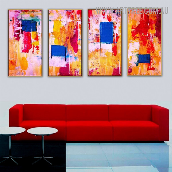 Immixture Dye Abstract Acrylic Heavy Texture Artist Handmade 4 Piece Multi Panel Canvas Oil Painting Wall Art Set For Room Decoration
