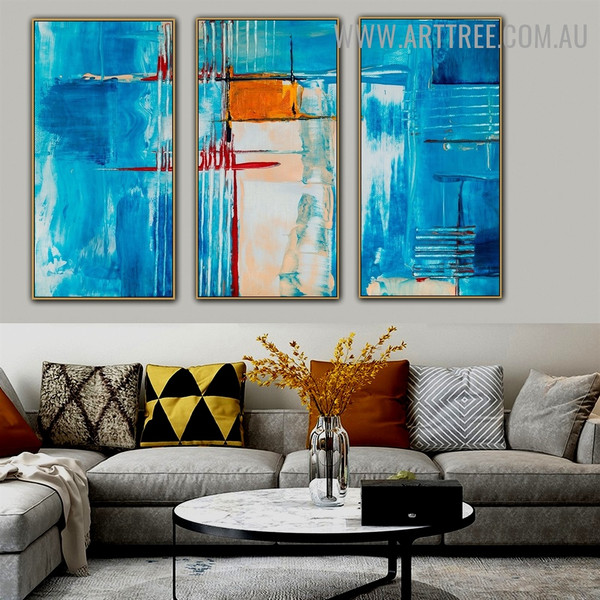 Multicoloured Flaws Abstract Acrylic Handmade 3 Piece Multi Panel Wall Art Painting Set For Room Wall Decor