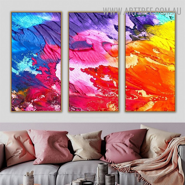 Blend Color Abstract Modern Heavy Texture Handmade 3 Piece Multi Panel Wall Art Painting Set for Room Onlay