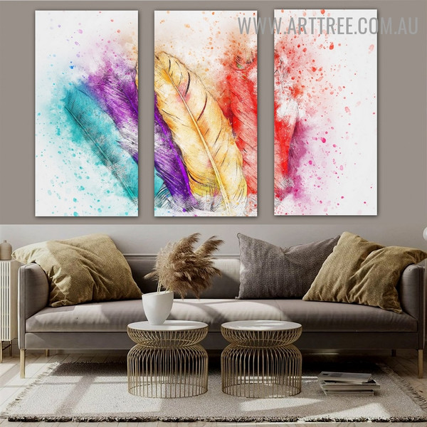 Colorful Feathers Abstract Heavy Texture Handmade 3 Piece Multi Panel Oil Painting Wall Art Set For Room Adornment