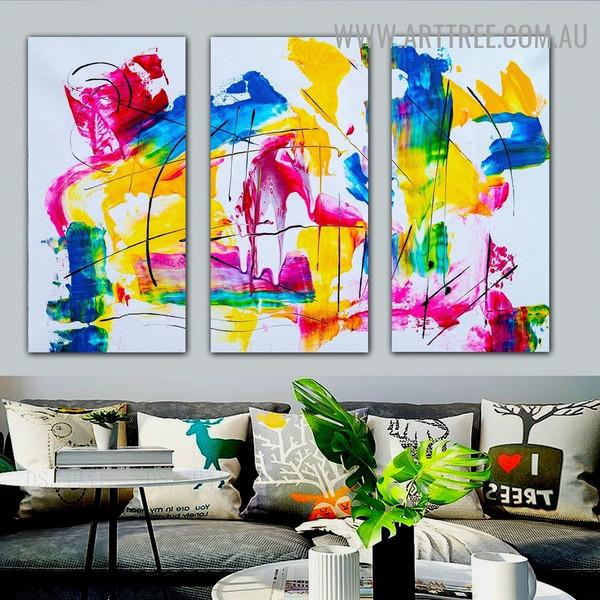 Multicolor Spots Abstract Heavy Texture Handmade 3 Piece Split Panel Canvas Wall Art Set For Room Décor