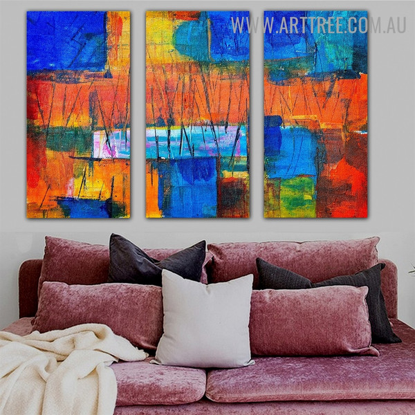 Dapple Boxes Abstract Contemporary Texture Artist Handmade 3 Piece Multi Panel Canvas Painting Set For Room Equipment