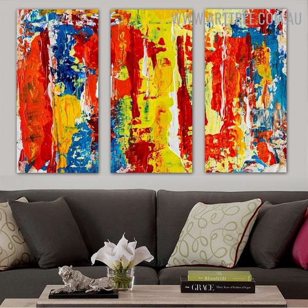 Intermix Color Abstract Modern Texture Artist Handmade 3 Piece Split Panel Wall Art Painting Set For Room Finery